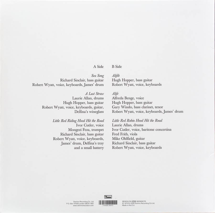 Robert Wyatt - Rock Bottom Cover Back